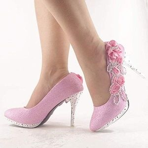 Lace Flower Pearls Closed Toes Shoes Pumps